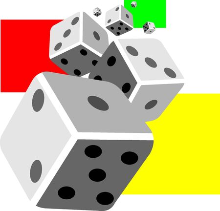 Illustration of three cubes used for playing  illustration