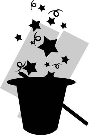 Illustration of magic hat and stick with magic design Stock Illustration - 5868848