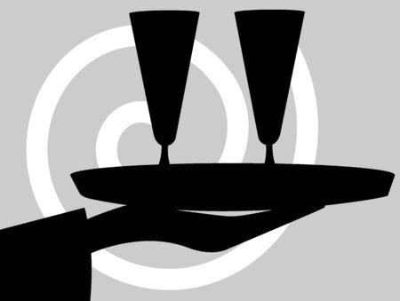 goblet: Illustration of liquor bottle and goblet of wine