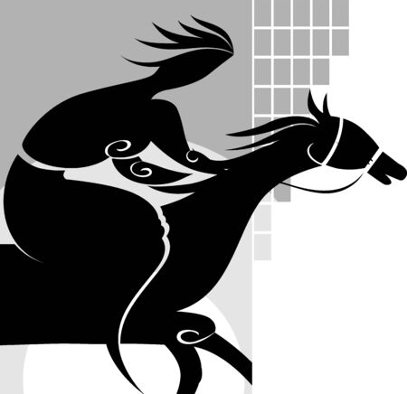 Illustration of horse with out men and yellow colour  illustration