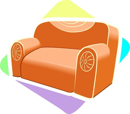 Illustration of a orange colour sofa with decorated clothes  illustration