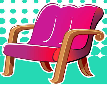 Illustration of a red colour sofa with decorated clothes