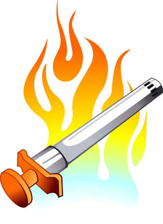 gas lighter: Illustration of gas lighter with colour background