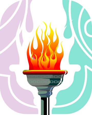 Illustration of a fire torch with flames  illustration