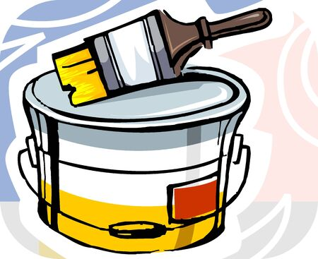 paint container: Illustration of paint brush with paint container