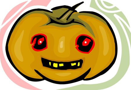 Illustration of Human faced Pumpkin with eyes and mouth  Stock Illustration - 5891091