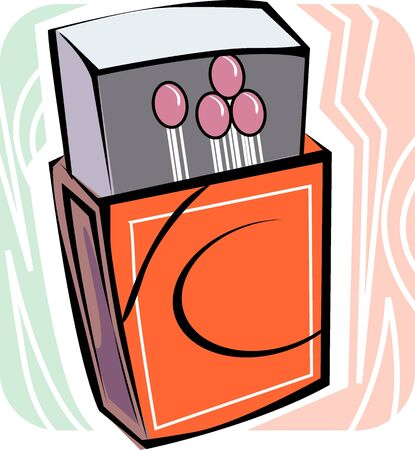 Illustration of a opened match stick with box  illustration