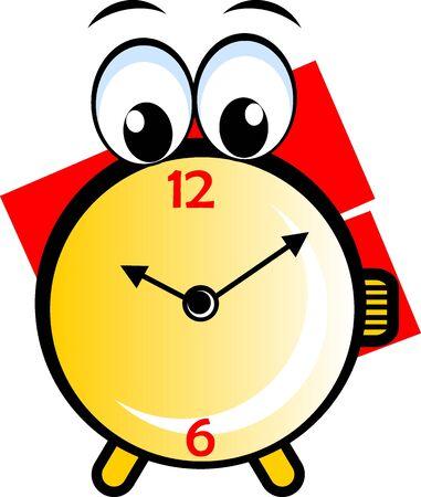 Illustration of a cartoon round clock  illustration