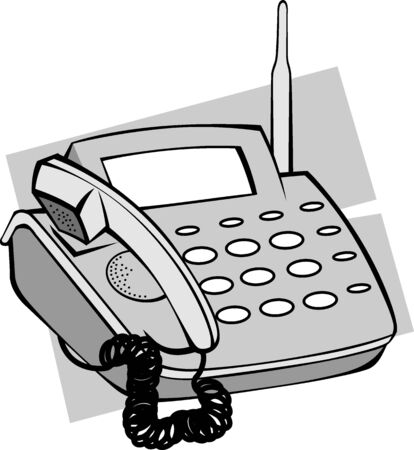 caller: Illustration of ash coloured telephone with display