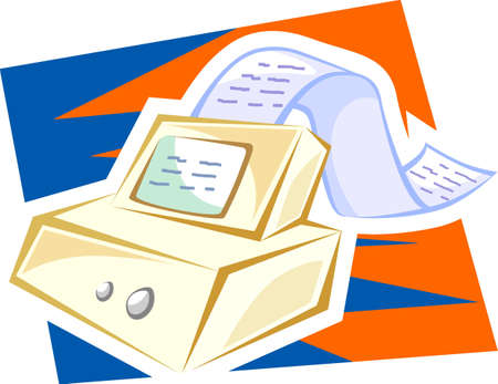 Illustration of a fax machine  Stock Photo