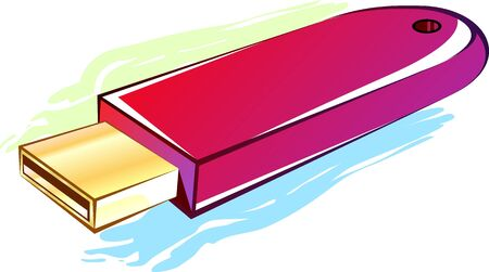 pen drive: Illustration of pen drive in  colour background