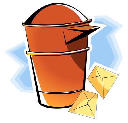 Illustration of envelopes for mail near post box