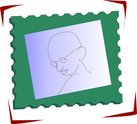 gandhi: Illustration of stamp with Gandhi head  Stock Photo