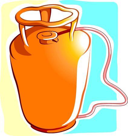 l p g: Ilustraci�n de un cilindro de LPG con regulador y alambre  Foto de archivo
