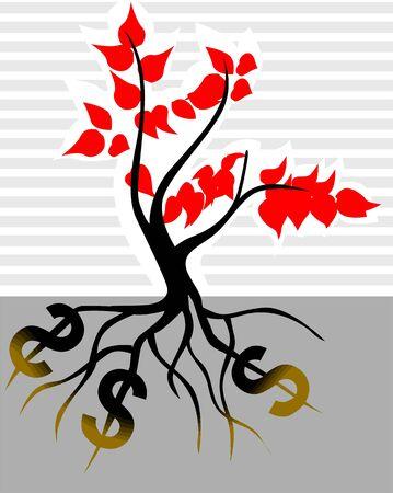 Illustration of a dollar root plant illustration