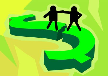 stockmarket: Illustration of two silhouette of men standing on top of a dollar symbol  Stock Photo