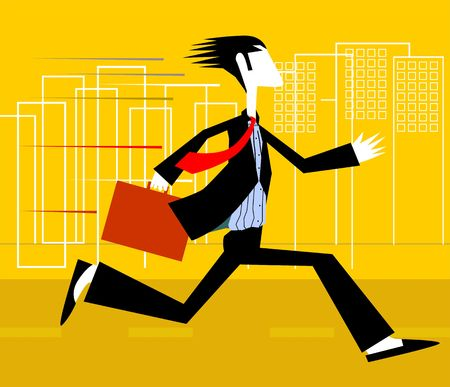 Illustration of a manager running to office