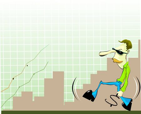 stockmarket: Illustration of a manger running with dollar