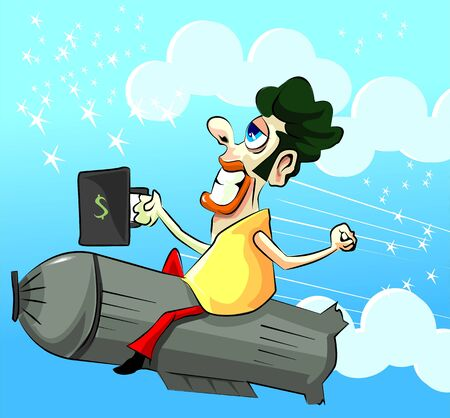 stockmarket: Illustration of a man flying in a rocket