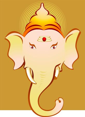 Illustration of Lord Ganesha in brown background