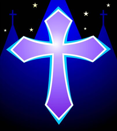 charismatic: Illustration of a cross in blue background