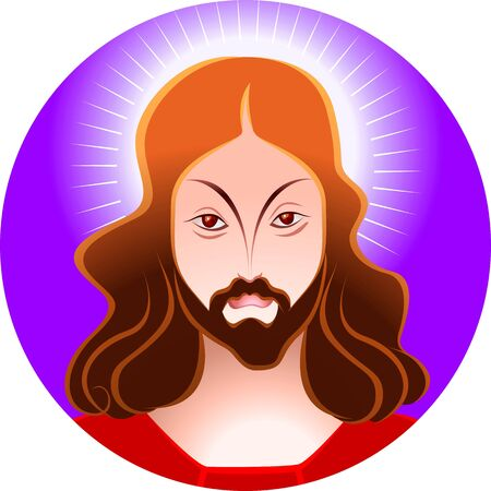crucification: Illustration of Jesus Christ in blue background  Stock Photo