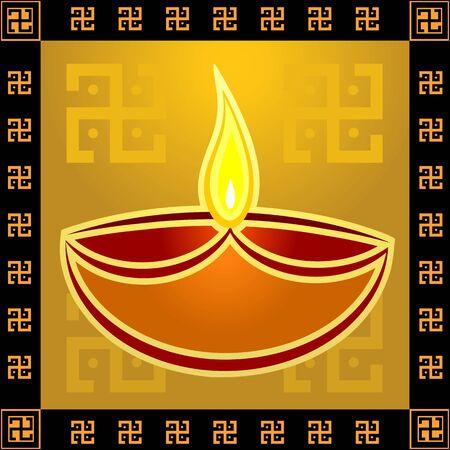 Illustration of divine pot lamp in black border  illustration