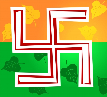 swastika: Illustration of Swastika symbol in decoration