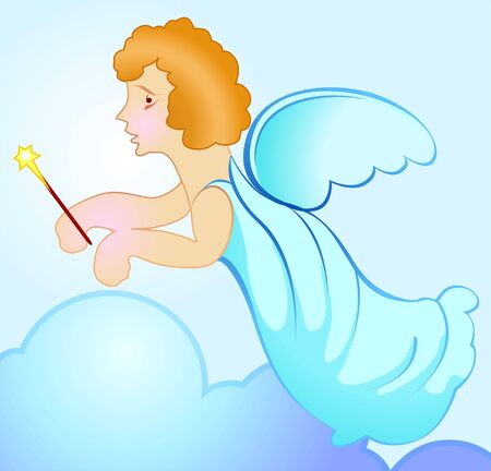 Illustration of a cupid with wings  illustration