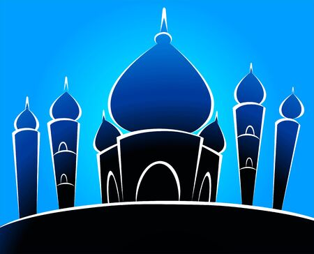 cupola: Illustrations of a mosque in blue background