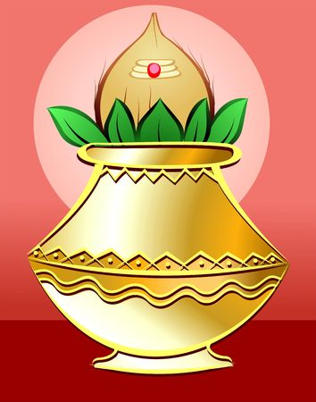hindu temple: Illustration of divine pot with coconut and betel leaf