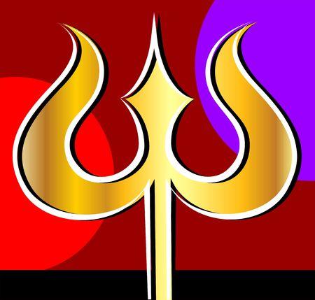 shankar: Illustration of a golden thrishul Stock Photo