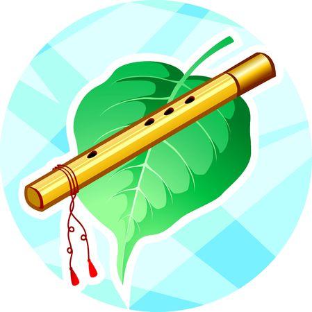 krishna: Afbeelding van Lord Krishna�s fluit en leaf