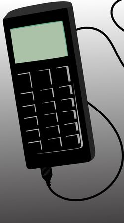 Illustration of mobile phone with charger cable  illustration