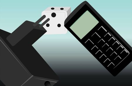 mobil phone: Illustration of a black charger with cube and Mobil phone  Stock Photo
