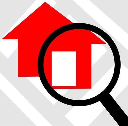 scrutinise: Illustration of house through magnifying lens