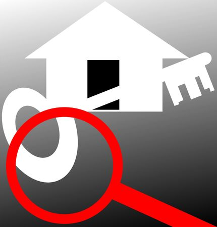 scrutinise: Illustration of house through magnifying lens
