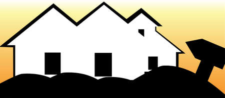 Illustration of silhouette of a house in a landscape   illustration