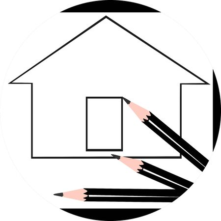 draftsman: Illustration of houses and pencils   Stock Photo