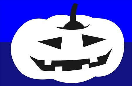 Illustration of human faced Pumpkin in blue background  Stock Illustration - 6307998