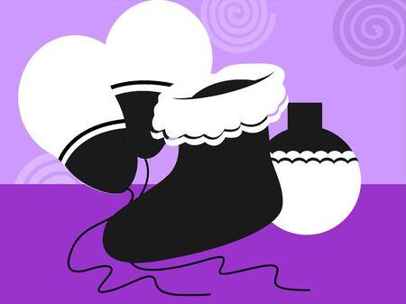 santaclause hat: Illustration of Santa�s socks and balloons