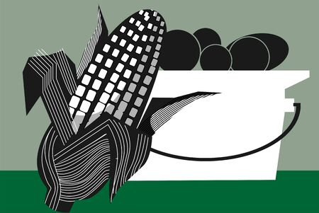 Illustration of silhouette of maize with petals and fruits in a vessel Stock Illustration - 6308027