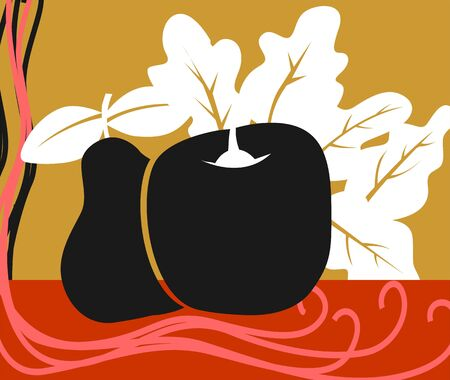 Illustration of silhouette of an apple and sapodilla
