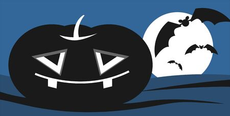 Illustration of Halloween pumpkin in blue background Stock Illustration - 6308024
