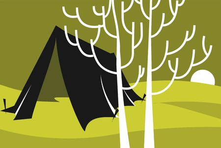 glade: Illustration of a tent in a landscape