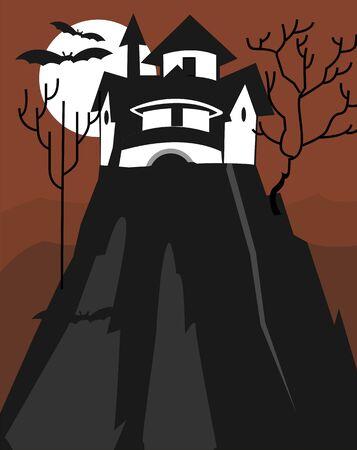 Illustration of fort in a moonlight  illustration