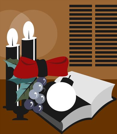 decorative items: Illustration of decorative items with candle light