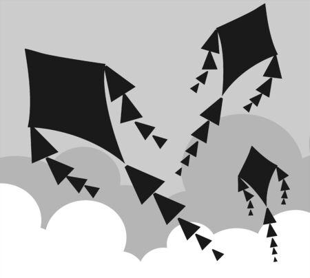 Illustration of kite flying in the sky Stock Illustration - 6361313