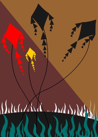 fire works: Illustration of kite flying under the fire works