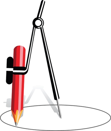compas de dibujo: Br�jula con l�piz